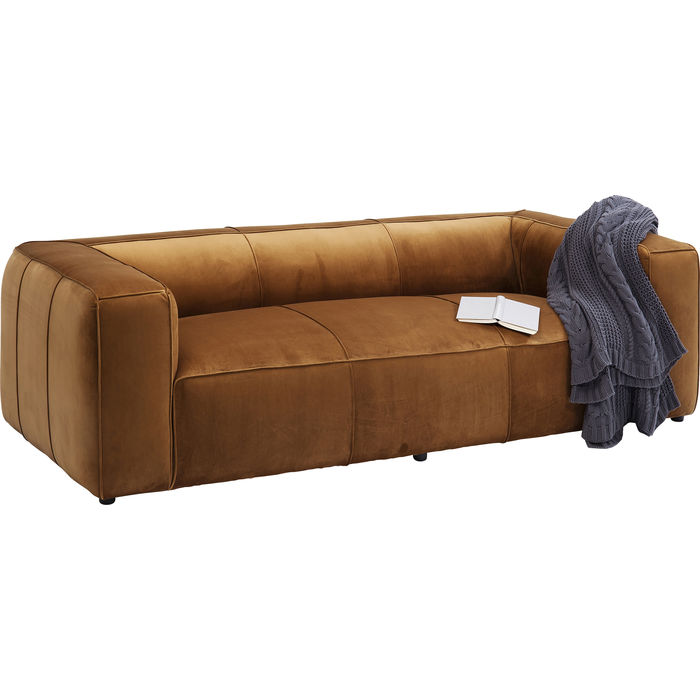 Καναπές Τριθέσιος Velvet Braun 2,5-Seater 220x110x67 εκ.
