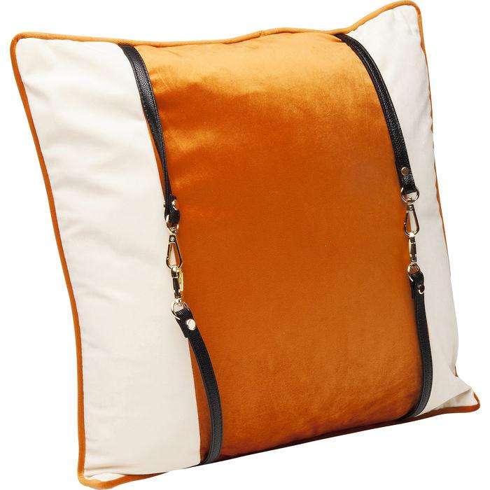 Μαξιλάρι Classy Velvet Λευκό-Πορτοκαλί 45 εκ.