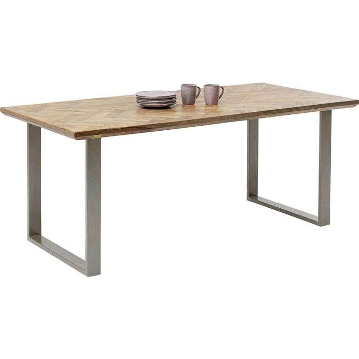 Table Parquet Brown-Silver 180x90cm