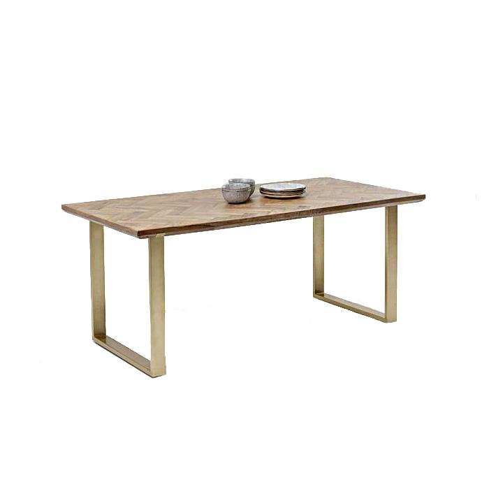 Table Parquet Brass Brown-Gold 180x90cm