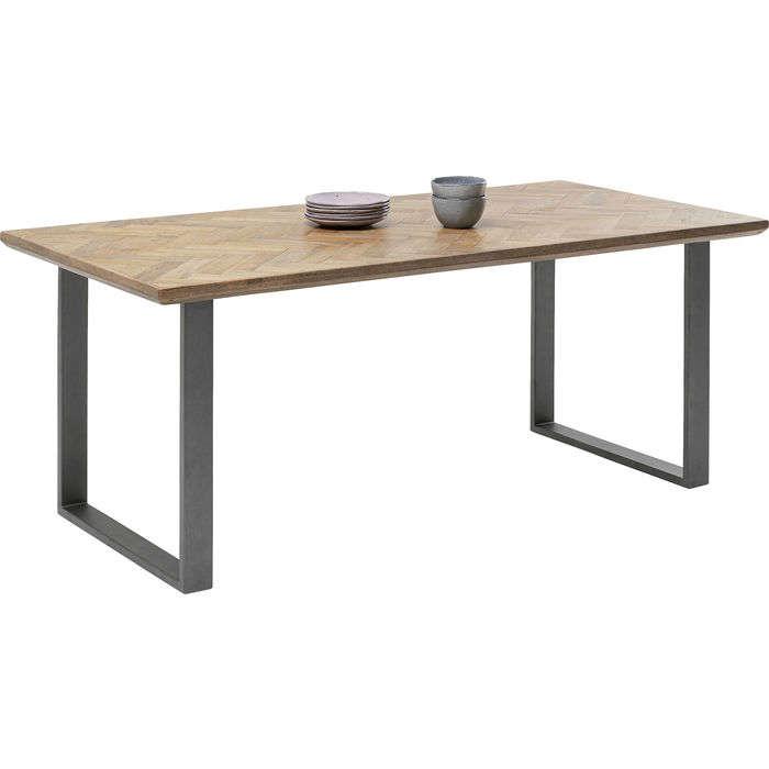 Table Parquet Acier Brut Brown-Grey 180x90cm