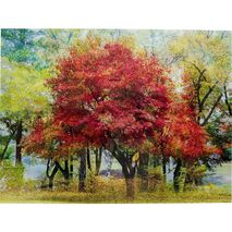 Glass Picture Autumn Trees Green-Red 160x120cm