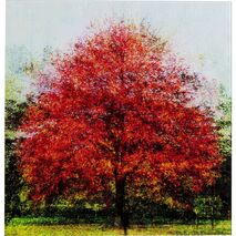 Glass Picture Autumn Tree Red-Orange 80x80cm
