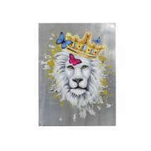 Painting On Canvas Touched King Of Lions Silver-White 90x120cm